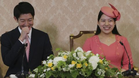 Ayako and Moriya could not stop smiling as they fielded press questions regarding their engagement.