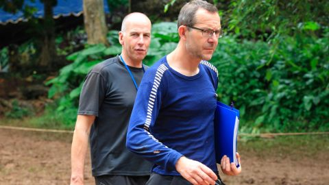 Richard Stanton, left, and John Volanthen  in northern Thailand on Tuesday, a day after they located the trapped team.