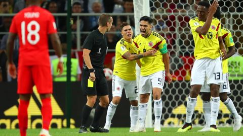 Falcao reacts after receiving a yellow card.