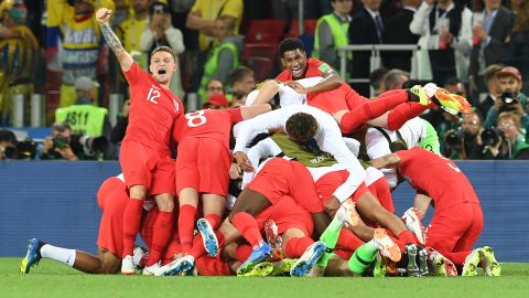 English players react after their shootout win over Colombia on July 3. It was England's first-ever shootout win at a World Cup.