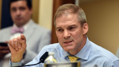 """Republican US Representative for Ohio, Jim Jordan, asks a question during a congressional House Judiciary Committee hearing on """"Oversight of FBI and DOJ Actions Surrounding the 2016 Election,"""" in Washington, DC, on June 28 2018. (Photo by Nicholas Kamm / AFP)        (Photo credit should read NICHOLAS KAMM/AFP/Getty Images)"""