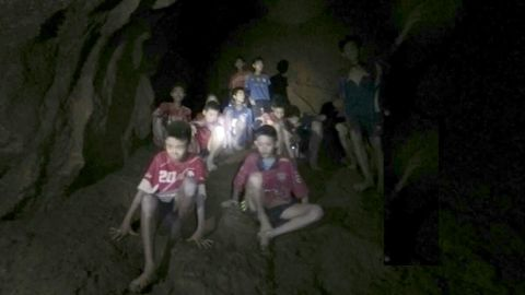 This image, taken from video on July 2, shows the team trapped inside the cave. That was the day divers found them alive.