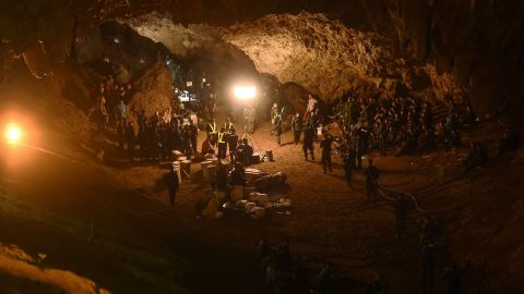 Thai soldiers relay electric cable deep into the Tham Luang cave at the Khun Nam Nang Non Forest Park in Chiang Rai.
