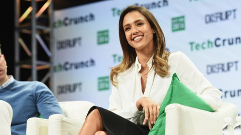 The Honest Company sells nontoxic and safe products for babies and the household. Alba is the COO of the company. Here she is pictured speaking at a TechCrunch event in New York in 2016.