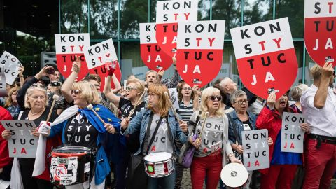 Demonstrators protest against Poland's Law on the Supreme Court in Warsaw in July.
