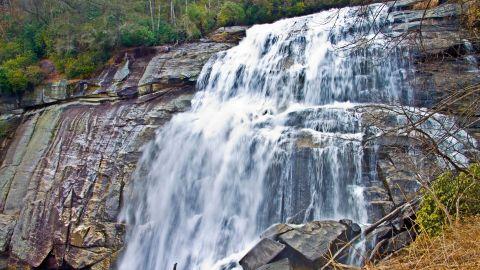 Rainbow Falls in western North Carolina plunges some 125 feet.