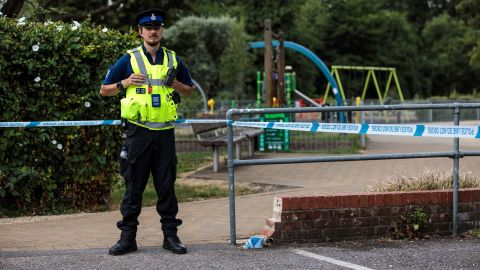 SALISBURY, ENGLAND - JULY 05:  A police officer stands by a cordon in place at Queen Elizabeth Gardens in Salisbury after a major incident was declared when a man and woman were exposed to the Novichok nerve agent on July 5, 2018 in Salisbury, England. The couple, named locally as Dawn Sturgess 44, and Charlie Rowley, 45 were taken to Salisbury District Hospital on Saturday and remain there in a critical condition. In March Russian former spy Sergei Skripal and his 33-year-old daughter Yulia were poisoned with the Russian-made Novichok in the town of Salisbury. British Prime Minister Theresa May has accused Russia of being behind the attack on the former spy and his daughter, expelling 23 Russian diplomats in retaliation. (Photo by Jack Taylor/Getty Images)