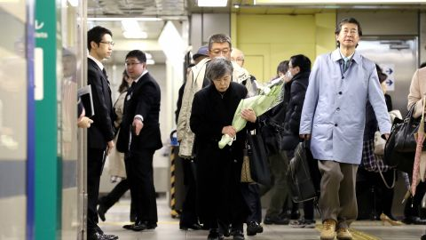 Shizue Takahashi, whose husband was killed by doomsday cult Aum Shinrikyo's sarin nerve gas attack while on duty at Tokyo Metro Kasumigaseki Station, is seen at a memorial to the victims in 2018.
