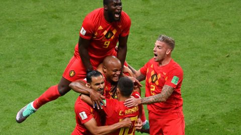 Belgium celebrates their first goal, which came off a deflected header in the 13th minute.
