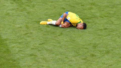 Neymar reportedly spent 14 minutes on the ground at the World Cup