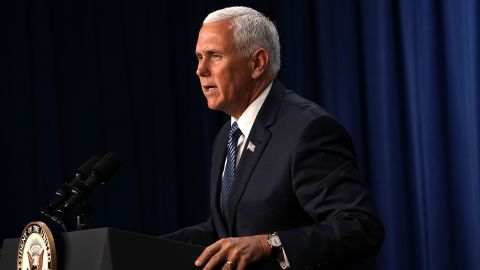 """WASHINGTON, DC - JULY 06:  U.S. Vice President Mike Pence speaks during a visit to the U.S. Immigration and Customs Enforcement (ICE) agency headquarters on July 6, 2018 in Washington, DC. Pence received a briefing on """"ICE's overall mission on enforcement and removal operations, countering illicit trade, and human smuggling.""""  (Photo by Alex Wong/Getty Images)"""