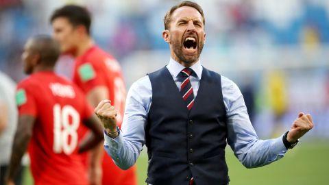 English manager Gareth Southgate celebrates his team's win.