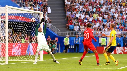 Dele Alli scores on a header for England's second goal.