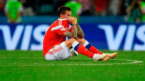 Russian forward Fedor Smolov reacts after the Croatia match.
