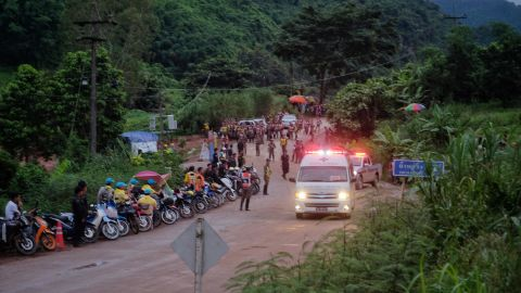 An ambulance leaves the scene of the rescue effort on July 8.