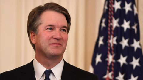 US Judge Brett Kavanaugh looks on as the US President announces him as his nominee to the Supreme Court in the East Room of the White House on July 9, 2018 in Washington, DC. (Photo by SAUL LOEB / AFP)        (Photo credit should read SAUL LOEB/AFP/Getty Images)