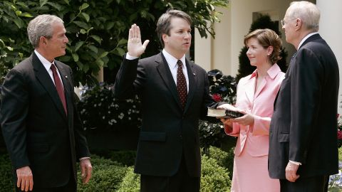 Kavanaugh is joined by his wife and US President George W. Bush as Justice Anthony Kennedy swears him in to be a federal judge in June 2006. Kavanaugh once clerked for Kennedy and now could be the judge to replace him on the Supreme Court.