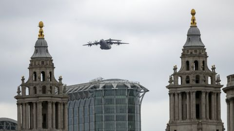 An RAF A400M Atlas takes part in a flypast over central London to mark 100 years of the RAF.