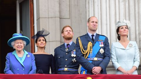 Queen Elizabeth, Meghan, Duchess of Sussex, Prince Harry, Prince William and Catherine, Duchess of Cambridge watch the flypast from the balcony of Buckingham Palace.