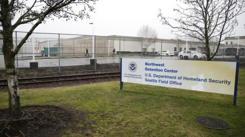The U.S. Department of Homeland Security Northwest Detention Center is pictured in Tacoma, Washington on February 26, 2017.   / AFP / Jason Redmond        (Photo credit should read JASON REDMOND/AFP/Getty Images)