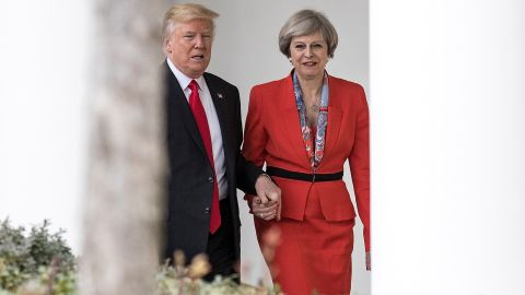 British Prime Minister Theresa May and U.S. President Donald Trump walk along The Colonnade of the West Wing at The White House on January 27, 2017 in Washington, DC. British Prime Minister Theresa May is on a two-day visit to the United States and will be the first world leader to meet with President Donald Trump. Christopher Furlong/Getty Images