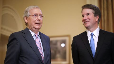 WASHINGTON, DC - JULY 10:  Senate Majority Leader Mitch McConnell (R-KY) (L) makes brief remarks before meeting with Judge Brett Kavanaugh in McConnell's office in the U.S. Capitol July 10, 2018 in Washington, DC. U.S. President Donald Trump nominated Kavanaugh to succeed retiring Supreme Court Associate Justice Anthony Kennedy.  (Photo by Chip Somodevilla/Getty Images)