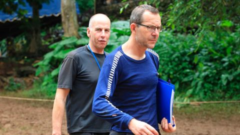 Richard Stanton, left, and John Volanthen arrive in Mae Sai, Chiang Rai province, in northern Thailand, Tuesday, July 3.