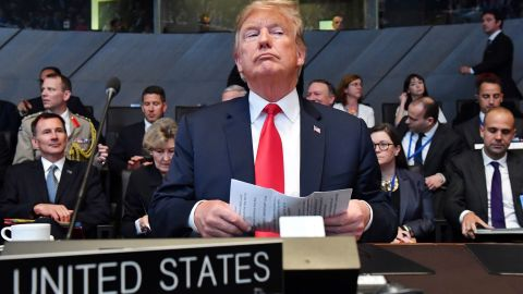 U.S. President Donald Trump attends a meeting of the North Atlantic Council during a summit of heads of state and government at NATO headquarters in Brussels on Wednesday, July 11, 2018. NATO leaders gather in Brussels for a two-day summit to discuss Russia, Iraq and their mission in Afghanistan. (AP Photo/Geert Vanden Wijngaert)