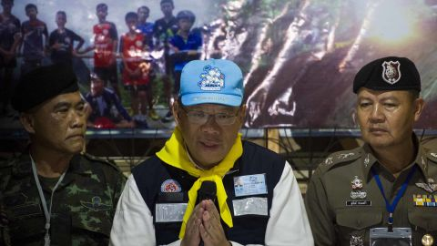 Chiang Rai Governor Narongsak Osotthanakorn speaks during a news conference held after the rescue was finished on July 10.