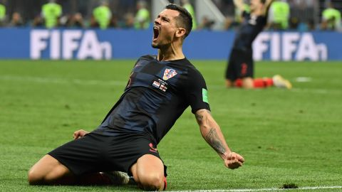 Lovren celebrates after the quarterfinal win over Russia.