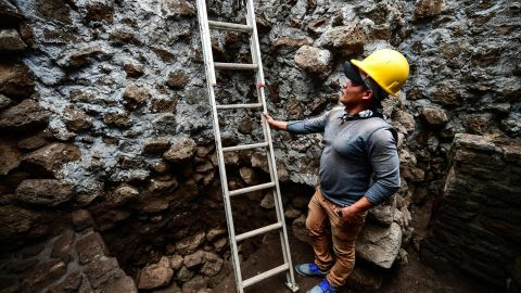 A worker at the newly discovered temple inside the Teopanzolco pyramid in Morelos State, Mexico on July 11, 2018. After an earthquake took place on September 19, 2017, the pyramid was damaged and a substructure inside was revealed.