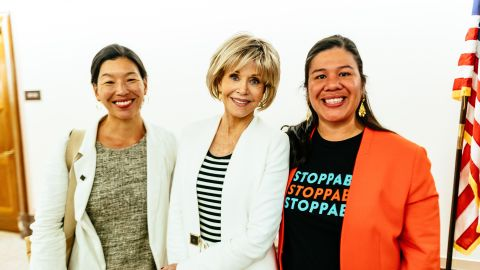 Jane Fonda (center), Ai-jen Poo of National Domestic Workers Alliance and Monica Ramirez of National Farmworker Women's Alliance during a day of lobbying on the Hill.