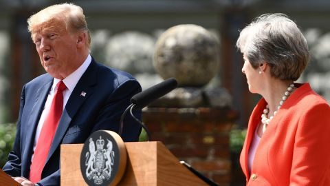 """US President Donald Trump (L) and Britain's Prime Minister Theresa May  hold a joint press conference following their meeting at Chequers, the prime minister's country residence, near Ellesborough, northwest of London on July 13, 2018 on the second day of Trump's UK visit. - Britain and the United States have agreed to pursue """"an ambitious UK-US free trade agreement"""" after Brexit, Prime Minister Theresa May said on Friday following talks with US President Donald Trump. (Photo by Brendan Smialowski / AFP)        (Photo credit should read BRENDAN SMIALOWSKI/AFP/Getty Images)"""