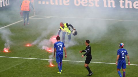 Flares thrown onto the pitch in a Group D match between Croatia and Czech Repubic at Euro 2016.