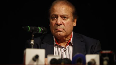 Former Pakistan prime minister Nawaz Sharif speaks during a UK PMLN Party Workers Convention meeting with supporters in London on July 11.