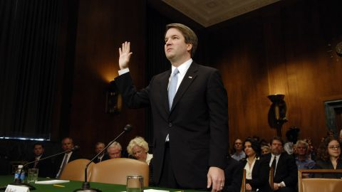 UNITED STATES - MAY 09:  Brett Kavanaugh is sowrn-in at a Senate Judiciary Committee hearing on his nomination to be U. S. Circuit Judge for the Ninth Circuit.  (Photo By Chris Maddaloni/Roll Call/Getty Images)