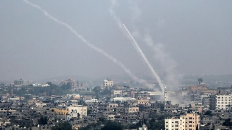 A picture taken on July 14, 2018 shows Palestinian rockets being fired from Gaza City towards Israel. - Israel's military said it had launched air strikes targeting Hamas in the Gaza Strip on July 14 as rockets and mortars were lobbed into southern Israel from the blockaded Palestinian enclave. (Photo by Bashar TALEB / AFP)        (Photo credit should read BASHAR TALEB/AFP/Getty Images)