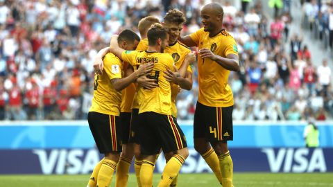 Belgian players celebrate Eden Hazard's goal in the third-place match against England on Saturday, July 14. The Belgians won 2-0.