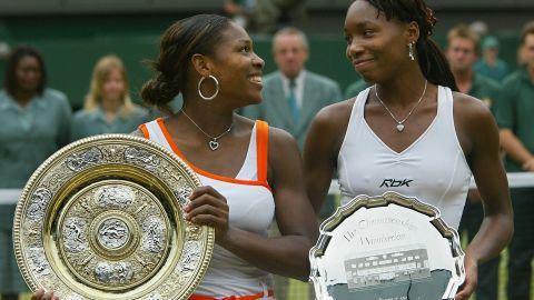 Serena wins the 2003 Wimbledon final 4-6 6-4 6-2 against sister Venus to defend her crown.