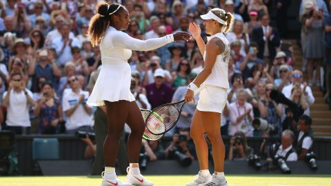 LONDON, ENGLAND - JULY 14:  Angelique Kerber of Germany (R) embraces Serena Williams of The United States after the Ladies' Singles final on day twelve of the Wimbledon Lawn Tennis Championships at All England Lawn Tennis and Croquet Club on July 14, 2018 in London, England.  (Photo by Michael Steele/Getty Images)