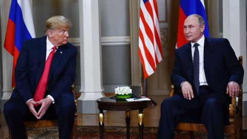Russian President Vladimir Putin (R) and US President Donald Trump pose ahead a meeting in Helsinki, on July 16, 2018. (Photo by Brendan Smialowski / AFP)        (Photo credit should read BRENDAN SMIALOWSKI/AFP/Getty Images)