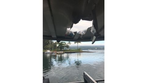 The roof of the boat after an explosion sent lava flying onto it Monday morning in Hawaii.