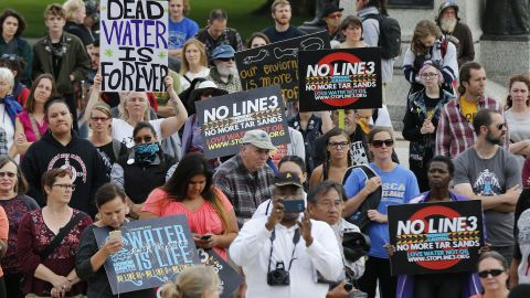 Tribal and environmental groups opposed to the proposed Enbridge Line 3 project rally in September 2017 at the State Capitol in St. Paul, Minnesota.