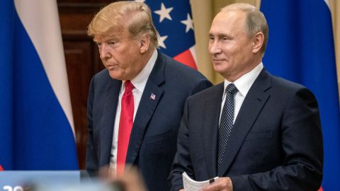 HELSINKI, FINLAND - JULY 16:  U.S. President Donald Trump (L) and Russian President Vladimir Putin arrive to waiting media during a joint press conference after their summit on July 16, 2018 in Helsinki, Finland. The two leaders met one-on-one and discussed a range of issues including the 2016 U.S Election collusion.  (Photo by Chris McGrath/Getty Images)