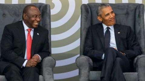 Barack Obama, right, and South African President Cyril Ramaphosa.