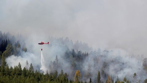 Firefighters use helicopters to fight wildfires outside Hammarstrand in Sweden on July 16.