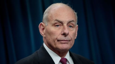 John Kelly answers questions during a press conference related to President Donald Trump's recent executive order concerning travel and refugees, January 31, 2017 in Washington, DC.