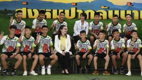The rescued team attends a news conference in Chiang Rai, Thailand, after being discharged from the hospital on Wednesday, July 18.