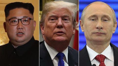 From left, Kim Jong Un, Donald Trump and Vladimir Putin