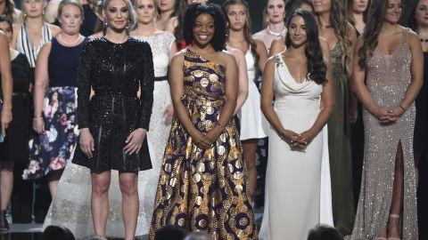 Some of the athletes Nassar abused receive the Arthur Ashe Award for Courage at the ESPY Awards last month.